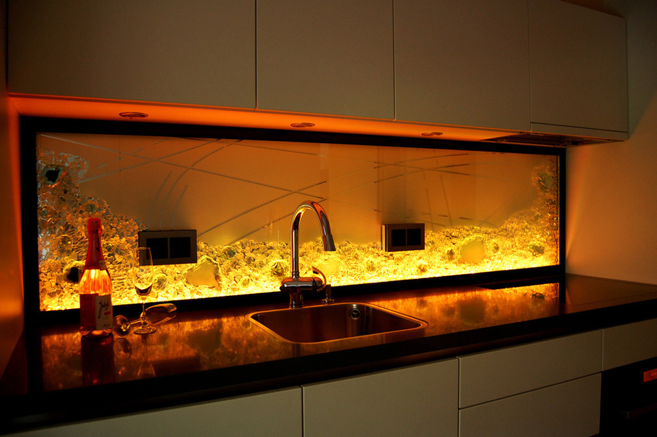 emejing k252chenr252ckwand glas mit led photos amazing home